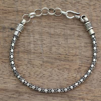 Men's sterling silver chain bracelet, 'Serpent Shadow' - India Fair Trade Men's Sterling Silver Bracelet