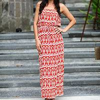 Batik long dress, 'Tulip' - Handcrafted Women's Batik Patterned Maxi Dress