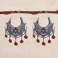 Carnelian filigree earrings,