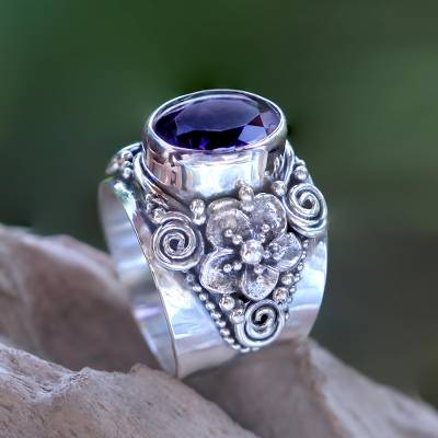 Amethyst cocktail ring, Lilac Frangipani