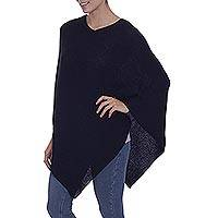 100% alpaca poncho, 'Enchanted Evening in Black' - Knit 100% Alpaca Black Poncho from Peru