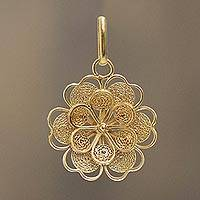 Gold plated filigree flower pendant, 'Yellow Rose' - Gold Plated Silver Peruvian Filigree Flower Pendant