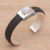 Rainbow moonstone and leather cuff bracelet,