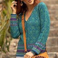 100% alpaca cardigan, 'Spirit of the Andes' - Soft Alpaca Button Up Cardigan Sweater from Peru