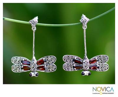 Garnet drop earrings, 'Dragonfly' - Garnet drop earrings