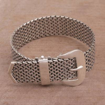 Sterling silver wristband bracelet, 'Belt of Tenganan' - Handcrafted Sterling Silver Chain Bracelet from Bali