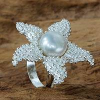 Adjustable cultured pearl cocktail ring, 'Sparkling Starfish' - Adjustable White Pearl Starfish Cocktail Ring