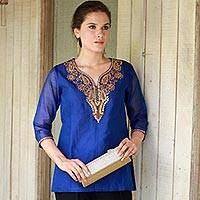Silk and cotton blend tunic, 'Royal Charm' - Embellished Royal Blue Tunic Top with Golden Embroidery