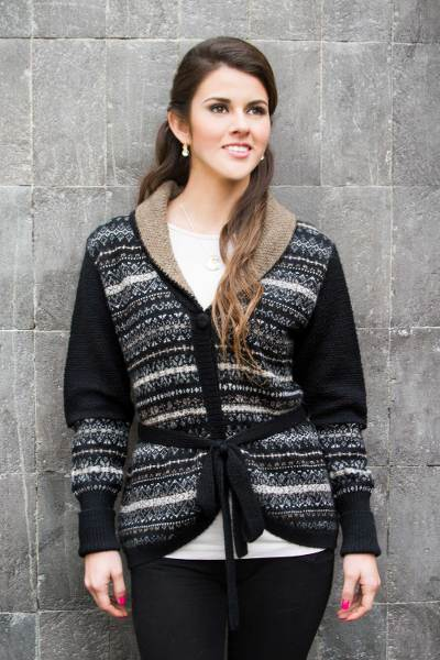 100% alpaca cardigan, 'Midnight Medley' - Black Alpaca Cardigan with White and Brown Motifs