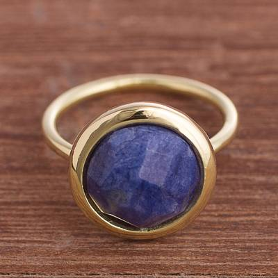 Gold plated sodalite single stone ring, 'Magic Pulse' - Gold Plated Sodalite Single Stone Ring from Peru