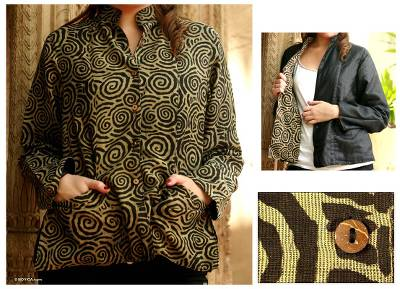 Reversible silk jacket, 'Hypnotic' - Reversible Silk Jacket with Spiral Print
