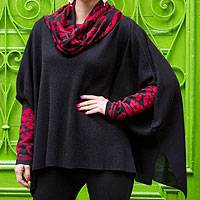 100% alpaca poncho, 'Ruby Valley' - 100% Alpaca Poncho with Cowl Neck and Sleeves
