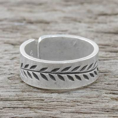 Sterling silver wrap ring, 'Wrapped in Nature' - Handcrafted Unisex Sterling Silver Vine Motif Wrap Ring