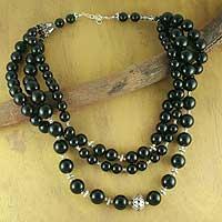 Onyx strand necklace,