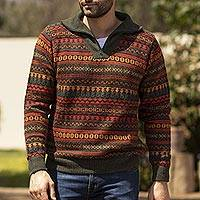 Men's 100% alpaca sweater, 'Mountain Sunset' - Men's Fair Trade Alpaca Art Knit Pullover Sweater