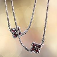 Garnet flower long necklace,