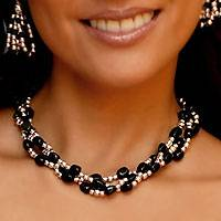Obsidian choker, 'Midnight Tears' - Taxco Silver and Black Obsidian Necklace