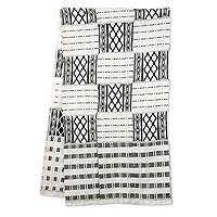 Cotton blend kente scarf, 'Akan Blessings' (18 inch) - Authentic 18-in Width Black and White Kente Cloth Scarf