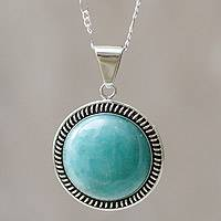 Amazonite pendant necklace, 'Moon Over Lima' - Sterling Silver Pendant Amazonite Necklace