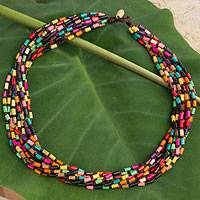 Wood torsade necklace, 'Chiang Mai Belle' - Wood Beaded Necklace in Rainbow Colors