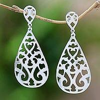 Sterling silver dangle earrings, 'Soul of the Temple' - Drop-Shaped Sterling Silver Dangle Earrings from Bali