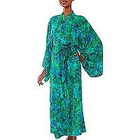 Batik robe, 'Ocean Jungle' - Green and Blue Tie-Dye and Batik Rayon Belted Robe