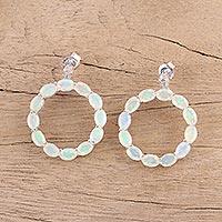Opal and diamond drop earrings,