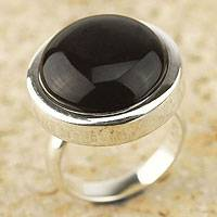Obsidian cocktail ring, 'Unique Minimalism' - Obsidian cocktail ring