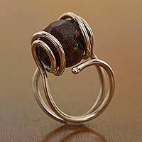 Garnet cocktail ring, 'Grounds for Love' - Garnet cocktail ring