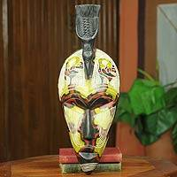 African mask, 'Sankofa Bird' - Bird Theme Folk Art African Mask