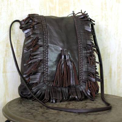 Leather shoulder bag, 'Goa Style' - Espresso Brown Leather Shoulder Bag Bohemian Chic
