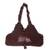 Cotton handbag with leather trim, 'Chocolate Brown' - Leather and Cotton Handbag in Brown thumbail