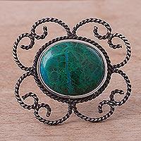 Chrysocolla brooch pin pendant,