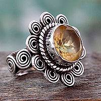 Citrine cocktail ring, 'Indian Sun' - Citrine and Sterling Silver Artisan Crafted Ring