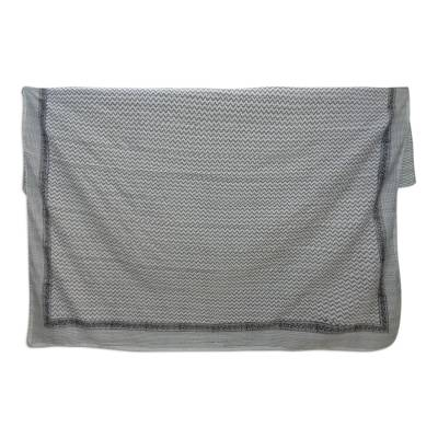 Cotton coverlet, 'Grey Lines' (full/queen) - Full/Queen Grey and Off-White Cotton Coverlet