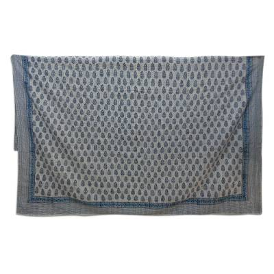 Cotton coverlet, 'Little Buta' (full/queen) - Blue and White Block Print Coverlet from India (Full/Queen)