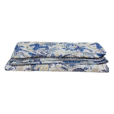 Cotton coverlet, 'Blue Tropics' (full/queen) - Full or Queen Floral Block Printed Cotton Coverlet