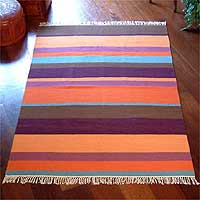 Wool rug, 'Multicolor' (4x6) - Modern Wool Striped Multicolor Area Rug (4x6)