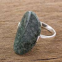 Jade cocktail ring, 'Maya Virtue in Dark Green' - Dark Green Jade and Silver Cocktail Ring from Guatemala