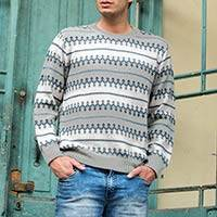 Men's 100% alpaca sweater, 'Mountain Mist' - Knitted Grey 100% Alpaca Wool Men's Sweater