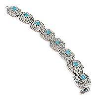 Amazonite filigree link bracelet, 'Lima Colonial' - Sterling Silver and Amazonite Link Bracelet