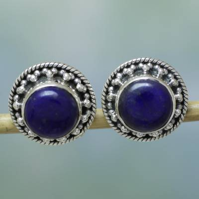 Lapis lazuli earrings, 'Lavish Moon' - Artisan Crafted Sterling Silver Lapis Lazuli Earrings