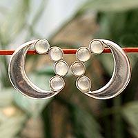 Moonstone button earrings,