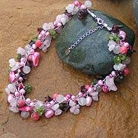 Multi-gemstone beaded necklace, 'Heritage' - Beaded Necklace with Peridot, Rose Quartz and Pearl
