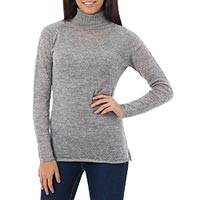 Alpaca blend sweater, 'Zigzag Parallels' - Patterned Grey Alpaca Blend Long Sleeve Turtleneck Sweater
