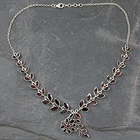 Garnet floral necklace,