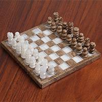 Onyx and marble chess set,