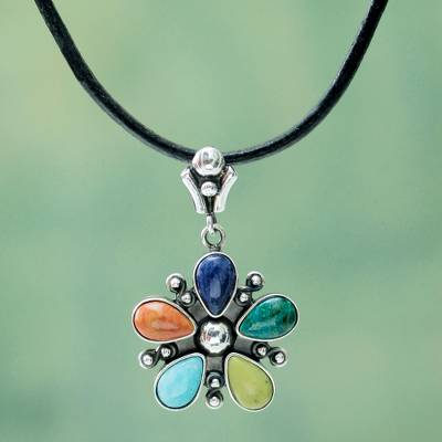 Multi-gemstone pendant necklace, 'Andean Colors' - Multi-Gemstone Flower Pendant Necklace