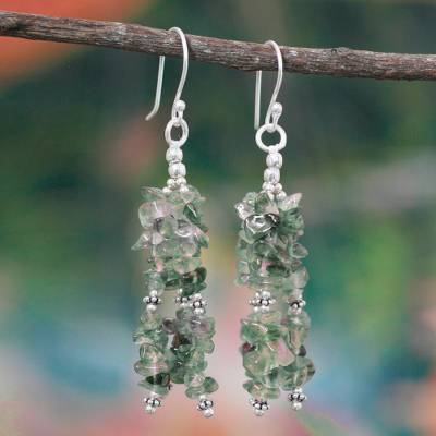 Labradorite waterfall earrings , 'Verdant Joy' - Labradorite Beaded Waterfall Earrings