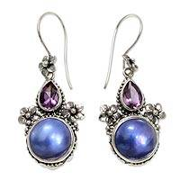 Amethyst and cultured pearl dangle earrings, 'Frangipani Trio' - Amethyst and Blue Cultured Pearl Earrings